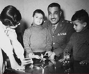 Khalid Abdel Nasser - Khalid (second from left) with his father Gamal Abdel Nasser, sister Mona (left) and Abdel Hamid (right), 1956