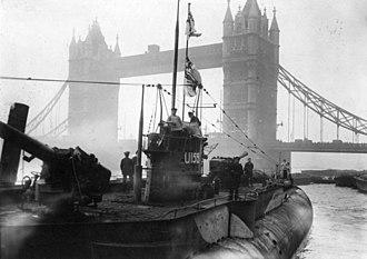 German submarine Deutschland - U-155 in London after World War I