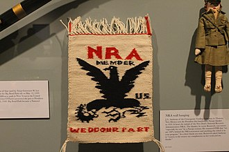 National Recovery Administration - NRA tapestry displayed at the Franklin D. Roosevelt Presidential Library and Museum in Hyde Park, New York