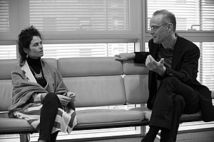 Chuck Hoberman - Hoberman (right) speaking with MIT design professor Neri Oxman
