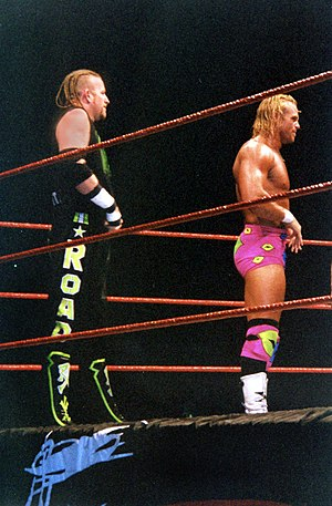 "Road Dogg - The New Age Outlaws (""The Road Dogg"" Jesse James (left) and ""Badd Ass"" Billy Gunn) in 1999."