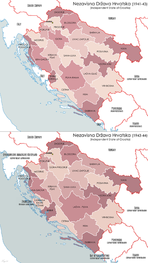 Administrative divisions of Croatia - Independent State of Croatia, counties:  1941-1943 (1st)  1943-1944 (2nd)