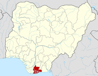 Location of Rivers State in Nigeria
