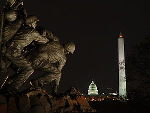 Night view of Washington Monuments