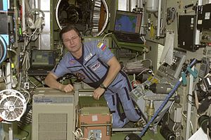Nikolai Budarin - Nikolai Budarin inside the Zvezda Module of the ISS.
