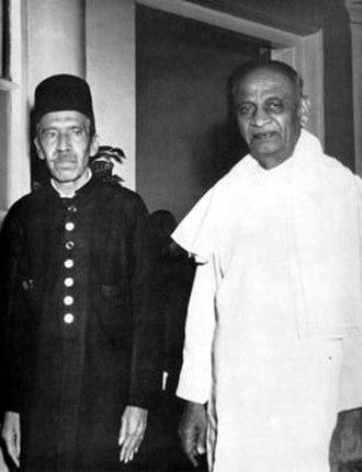 Mir Osman Ali Khan - Nizam VII with India's deputy Prime Minister Sardar Vallabhbhai Patel