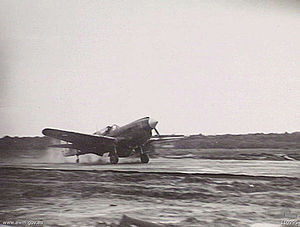 No. 75 Squadron RAAF - No. 75 Squadron's commander landing his Kittyhawk at Tarakan