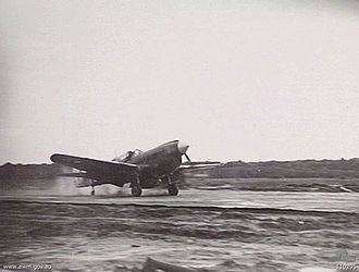 No. 75 Squadron RAAF - No. 75 Squadron's commander landing his Kittyhawk at Tarakan