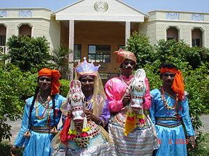 Kachchhi Ghodi dance - A group of Poikkal kuthirai aattam (false-leg horse dance) performers from Ramavaram, Tamil Nadu.