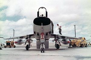 North American F-100 Super Sabre - An F-100D showing its elliptic air intake