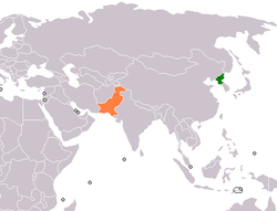 Map indicating locations of North Korea and Pakistan