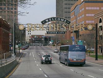 New York State Route 15 - Approaching the northern terminus of NY 15 at NY 31 in downtown Rochester