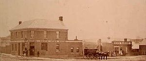 Soldiers Hill, Victoria - Corner of Seymour and Lydiard Streets in 1861 showing the North Star Hotel and Huff Bakery