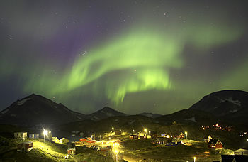 Northern lights over Kulusuk, Greenland