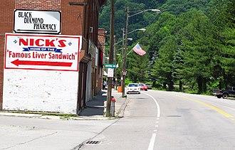 Northfork, West Virginia - Looking north on Coal Heritage Road in Northfork