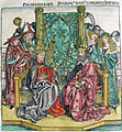 Nuremberg Chronicles - Aeneas, Pope and Frederick 3rd, Emperor (CCLXVIIv).jpg