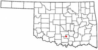 Davis, Oklahoma - Image: OK Map doton Davis