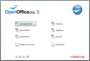 The Start Center from OpenOffice.org v3.2.1