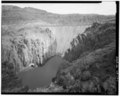 OVERALL VIEW UPSTREAM OF DAM AND OWYHEE RIVER. VIEW TO EAST. - Owyhee Dam, Across Owyhee River, Nyssa, Malheur County, OR HAER ORE,23-NYS.V,1-1.tif