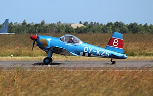 OY-KZS SAI KZ VIII landing at Danish Air Show 2014-06-22 cropped.jpg