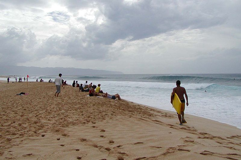 File:Oahu North Shore surfing watchers.jpg