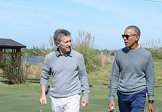 Obama playing golf with the President of Argentina Mauricio Macri, October 2017 Obama Macri October 2017.jpg