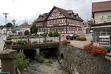 The Modau running through the town of Ober-Ramstadt.