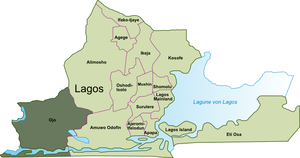 Ojo, Lagos - Location of Ojo in Lagos Metropolitan Area