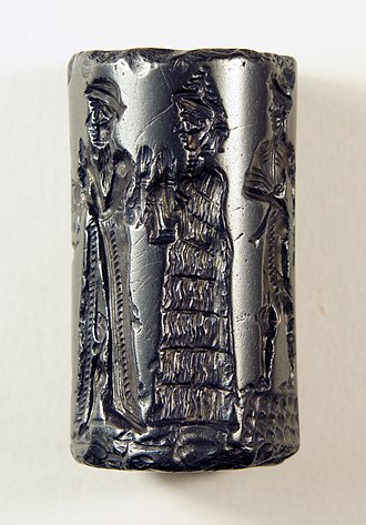 Sippar - Old Babylonian Cylinder Seal, hematite.  The king makes an animal offering to Shamash. The style of this seal suggests that it originated from a workshop in Sippar