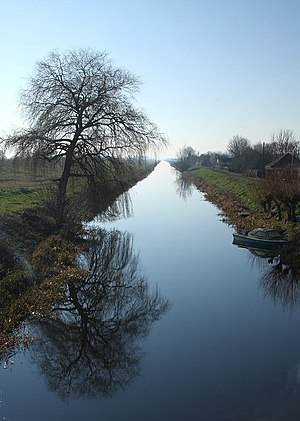 Bedford Level experiment - The Old Bedford River, photographed from the bridge at Welney, Norfolk (2008); the camera is looking downstream, south-west of the bridge