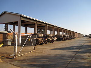 1 South African Tank Regiment - Olifants parked at 1 Tank Regiment, Tempe
