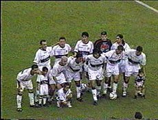Olimpia squad during a 2002 Copa Libertadores match