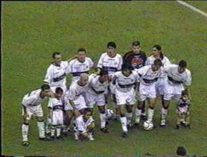 Club Olimpia - Olimpia squad during a 2002 Copa Libertadores match.