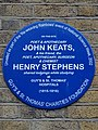 On this site poet & apothecary John Keats, & his friend, the poet, apothecary, surgeon & chemist Henry Stephens shared lodgings while studying at Guy's & St. Thomas' Hospitals (1815-1816).jpg