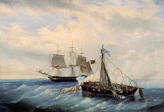 Anglo-Russian War (1807–1812) - Battle between the Russian ship Opyt and a British frigate, off the coast of Nargen Island, 11th July 1808