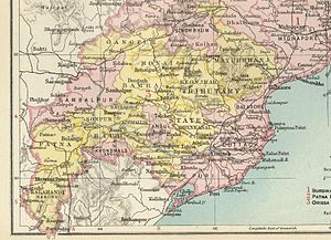 Mayurbhanj State - Mayurbhanj State in a 1901 map of the Imperial Gazetteer of India.