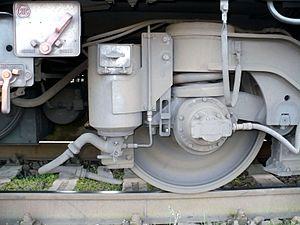 Wheel slide protection - Sanding equipmment on a ČD class 971 driving trailer.
