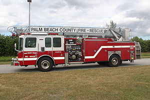 Quint (fire apparatus) - Palm Beach County Fire-Rescue Quint 57, stationed in suburban Boca Raton, Florida.  This unit was manufactured by Ferrara Fire Apparatus.  This is an example of a typical US quint setup.