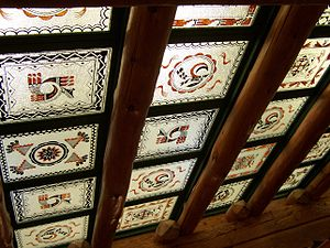 Painted Desert Inn - Skylights in the Painted Desert Inn, painted by the CCC−Civilian Conservation Corps