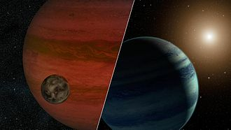 Exomoon - Artist's impression of the MOA-2011-BLG-262 system