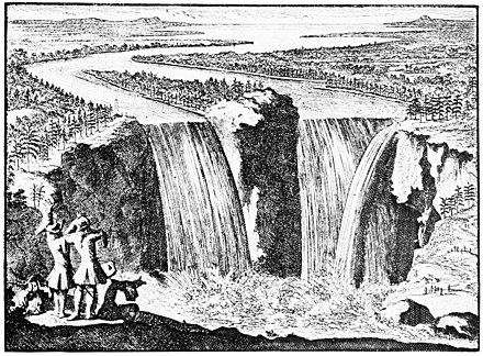 Father Louis Hennepin is depicted in front of the falls in this 1698 print. PSM V49 D014 View of niagara falls by father hennepin.jpg