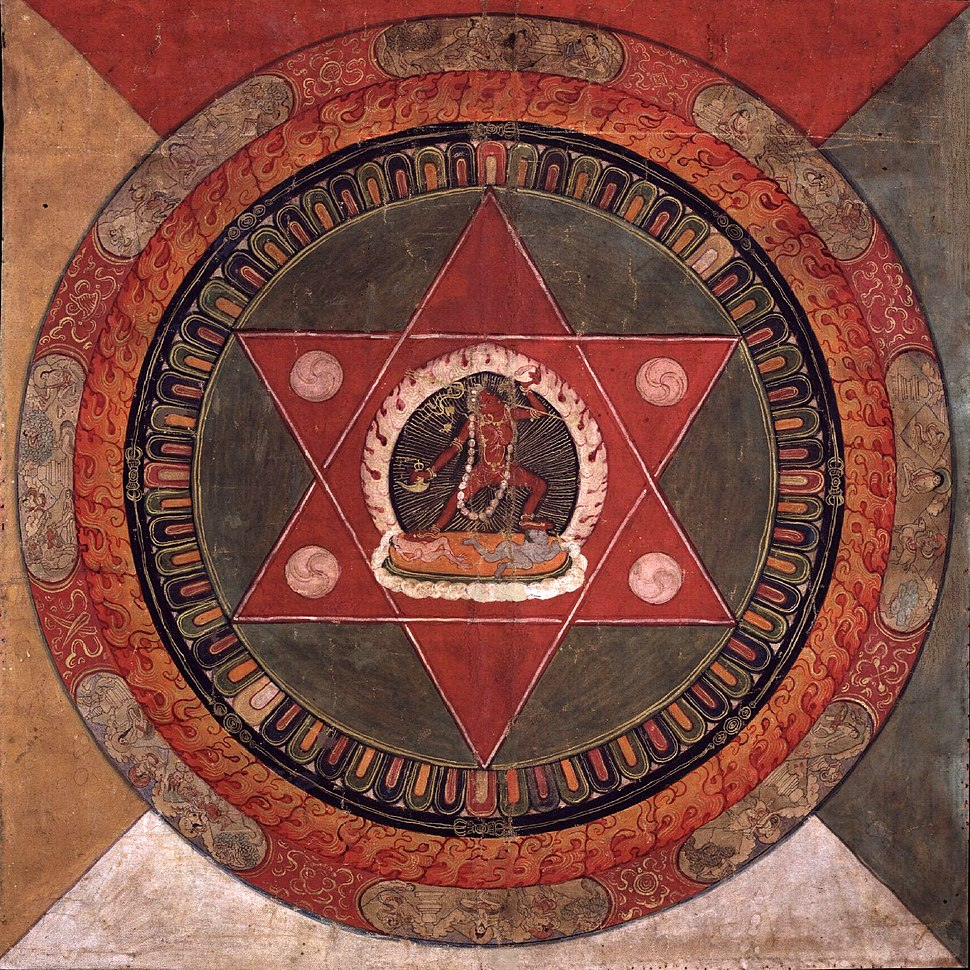 Painted 19th century Tibetan mandala of the Naropa tradition, Vajrayogini stands in the center of two crossed red triangles, Rubin Museum of Art