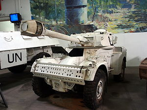 United Nations peacekeeping - Peacekeepers' Panhard armoured car in the Musée des Blindés, Saumur, France. These vehicles have served with the UN since the inception of UNFICYP.