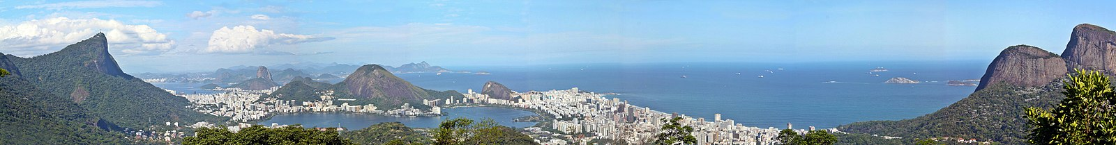 Panorama of the city of Rio de Janeiro highlighting the mountains of Corcovado (left), Sugarloaf (center, background) and Two Brothers (right), from the Chinese Belvedere