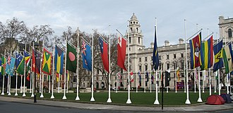 Flags of the members of the Commonwealth in Parliament Square, London Parliament Square 11 3 09 (3346753423).jpg