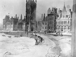 The Centre Block the morning after the 1916 fire