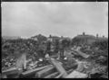Part 2 of a 2 part panorama showing the aftermath of a fire at Cook's Cooperage, Petone, 14 January 1914. ATLIB 286533.png
