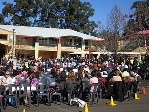 Patrician Brothers' College, Fairfield - Patrician Brothers' College hosting the WYD cross and icon