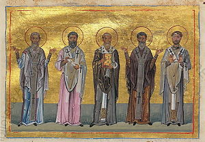 Pope Linus - Patrobulus, Hermas, Linus, Caius, Philologus of 70 disciples (Menologion of Basil II)