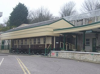 Beer, Devon - View at the entrance to the Pecorama Pleasure Gardens in Beer, including a restored Golden Arrow train Pullman railway carriage.